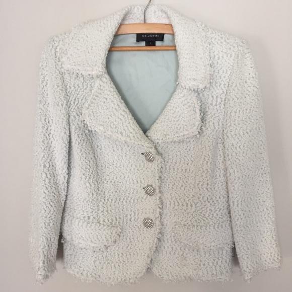 St. John jacket blazer tweed? blue sz 8